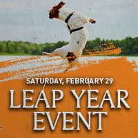 leap year event, saturday, february 29 dog jumping