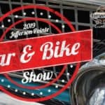 Jefferson Pointe Car & Bike Show logo with car grill in background