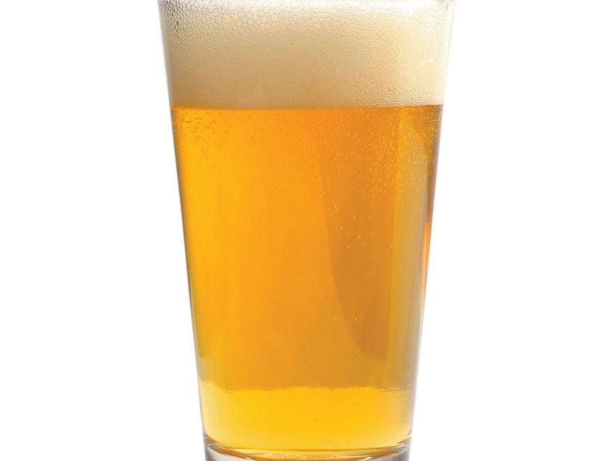 A pint glass of beer