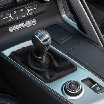 closeup view of stick shift of Corvette Z06