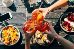 cocktails and food