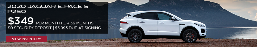 2020 Jaguar E-PACE S P250 $349 per month for 26 months $0 security deposit $3,995 due at signing click to view inventory white e-pace on lake background