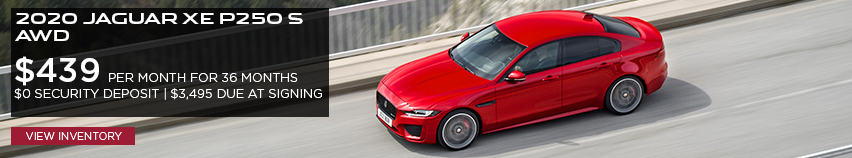 2020 Jaguar XE P250 S AWD $439 per month for 36 months $0 security deposit $3,495 due at signing click to view inventory red XE on highway