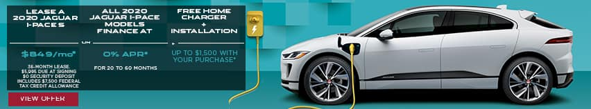 LEASE A 2020 JAGUAR I-PACE S FOR $849 PER MONTH FOR 36 MONTHS. $5,995 DUE AT SIGNING. $0 SECURITY DEPOSIT INCLUDES $7,500 FEDERAL TAX CREDIT ALLOWANCE. OR ALL 2020 JAGUAR I-PACE MODELS FINANCE AT 0% APR FOR 20 TO 60 MONTHS. FREE HOME CHARGER PLUS INSTALLATION,  UP TO $1,500 WITH YOUR PURCHASE. VIEW OFFER. WHITE JAGUAR I-PACE WITH YELLOW CHARGING PLUG-IN FEATURED IN FRONT OF A BLUE WALL.