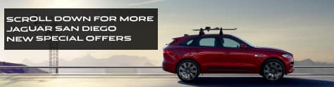 SCROLL DOWN FOR MORE JAGUAR SAN DIEGO NEW SPECIAL OFFERS. RED JAGUAR F-PACE DRIVING DOWN ROAD ON SUNNY DAY.
