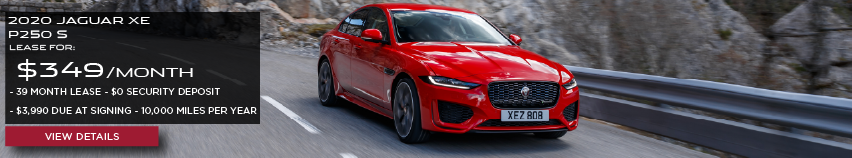 2020 JAGUAR XE P250 S.LEASE FOR $349 PER MONTH + TAX. 39 MONTH LEASE TERM. $0 SECURITY DEPOSIT. ONLY $3,990 DUE AT SIGNING. 10,000 MILER PER YEAR. RED JAGUAR XE DRIVING THROUGH MOUNTAIN RANGE.VIEW DETAILS.