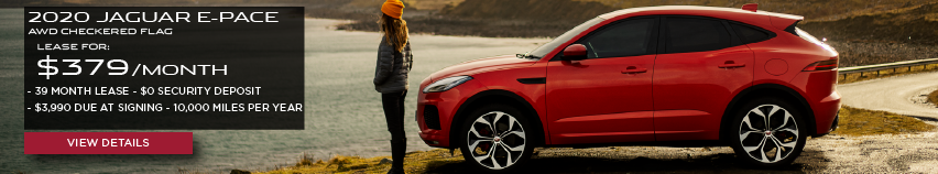 2020 JAGUAR E-PACE AWD CHECKERED FLAG.LEASE FOR $379 PER MONTH + TAX. 39 MONTH LEASE TERM. $0 SECURITY DEPOSIT. ONLY $3,990 DUE AT SIGNING. 10,000 MILER PER YEAR.RED JAGUAR E-PACE PARKED NEAR LAKE.VIEW DETAILS.