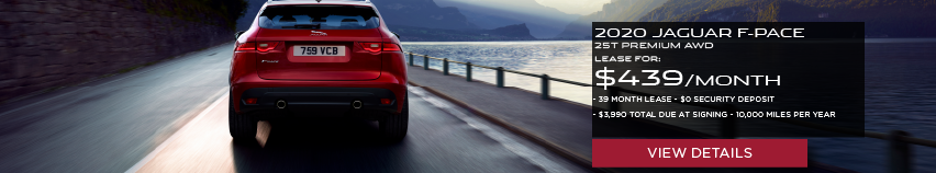 2020 JAGUAR F-PACE 25T PREMIUM.LEASE FOR $439 PER MONTH + TAX. 39 MONTH LEASE TERM. $0 SECURITY DEPOSIT. ONLY $3,990 DUE AT SIGNING. 10,000 MILER PER YEAR.RED JAGUAR F-PACE DRIVING NEAR LAKE.VIEW DETAILS.