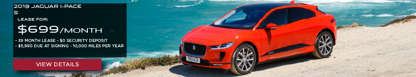 2019 JAGUAR I-PACE S.LEASE FOR $699 PER MONTH + TAX. 39 MONTH LEASE TERM. $0 SECURITY DEPOSIT. ONLY $5,990 DUE AT SIGNING. 10,000 MILER PER YEAR. RED JAGUAR F-PACE PARKED ON CLIFF OVERLOOKING OCEAN.VIEW DETAILS.