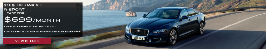 2019 JAGUAR XJ R-SPORT.LEASE FOR $699 PER MONTH + TAX. 39 MONTH LEASE TERM. $0 SECURITY DEPOSIT. ONLY $5,990 DUE AT SIGNING. 10,000 MILER PER YEAR. BLACK JAGUAR F-PACE DRIVING NEAR OCEAN.VIEW DETAILS.