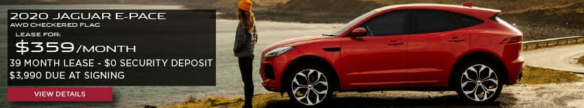 2020 JAGUAR E-PACE AWD CHECKERED FLAG.LEASE FOR $359 PER MONTH + TAX. 39 MONTH LEASE TERM. $0 SECURITY DEPOSIT. ONLY $3,990 DUE AT SIGNING..RED JAGUAR E-PACE PARKED NEAR LAKE.VIEW DETAILS.