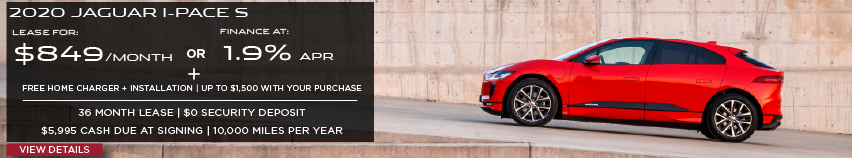 2020 JAGUAR I-PACE S. LEASE FOR $849 PER MONTH OR FINANCE AT 1.9% APR. FREE HOME CHARGER + INSTALLATION. UP TO $1,500 WITH YOUR PURCHASE. 36 MONTH LEASE TERM. $0 SECURITY DEPOSIT. $5,995 CASH DUE AT SIGNING. 10,000 MILES PER YEAR. VIEW DETAILS. RED JAGUAR E-PACE DRIVING UP INCLINED ROAD.