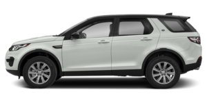 A Land Rover Discovery Sport that is an off-white color with a black trim and no background