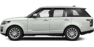 A Land Rover Range Rover that is an off-white color with a black trim and no background