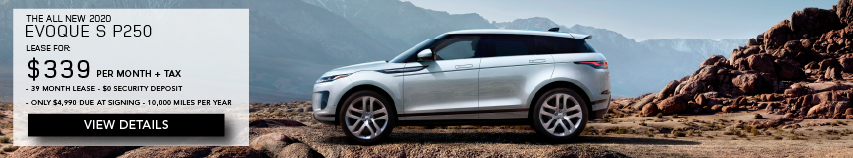 2020 LAND ROVER EVOQUE. LEASE FOR $339 PER MONTH + TAX. 39 MONTH LEASE TERM. $0 SECURITY DEPOSIT. ONLY $4,990 DUE AT SIGNING. 10,000 MILER PER YEAR. SILVER RANGE ROVER EVOQUE PARKED ON MOUNTAIN.VIEW DETAILS.