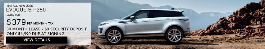 2020 LAND ROVER EVOQUE. LEASE FOR $379 PER MONTH + TAX. 39 MONTH LEASE TERM. $0 SECURITY DEPOSIT. ONLY $4,990 DUE AT SIGNING. SILVER RANGE ROVER EVOQUE PARKED ON MOUNTAIN.VIEW DETAILS.