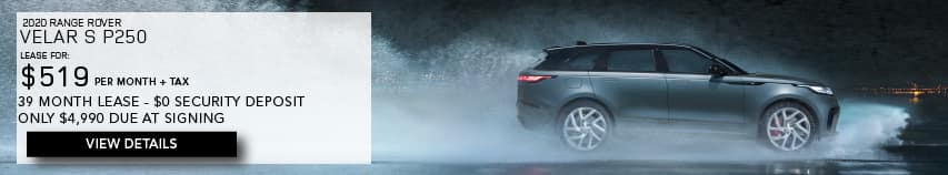 2020 RANGE ROVER VELAR S P250. LEASE FOR $519 PER MONTH + TAX. 39 MONTH LEASE TERM. $0 SECURITY DEPOSIT. ONLY $4,990 DUE AT SIGNING. SILVER RANGE ROVER VELAR S DRIVING THROUGH RAIN. VIEW DETAILS.