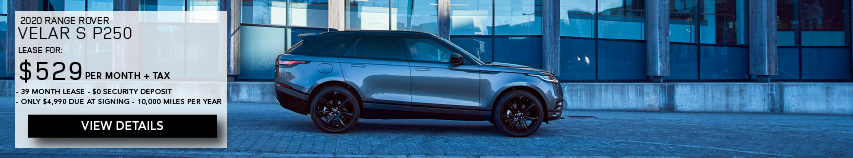 2020 RANGE ROVER VELAR S P250. LEASE FOR $529 PER MONTH + TAX. 39 MONTH LEASE TERM. $0 SECURITY DEPOSIT. ONLY $4,990 DUE AT SIGNING. 10,000 MILER PER YEAR. SILVER RANGE ROVER VELAR S DRIVING IN CITY. VIEW DETAILS.