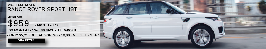 2020 RANGE ROVER SPORT HST. LEASE FOR $959 PER MONTH + TAX. 39 MONTH LEASE TERM. $0 SECURITY DEPOSIT. ONLY $5,990 DUE AT SIGNING. 10,000 MILER PER YEAR. WHITE RANGE ROVER SPORT HST DRIVING THROUGH CITY.VIEW DETAILS.