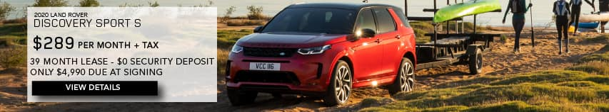 2020 LAND ROVER DISCOVERY SPORT S. $289 PER MONTH. 36 MONTH LEASE TERM. $4,990 CASH DUE AT SIGNING. $0 SECURITY DEPOSIT. VIEW DETAILS. RED DISCOVERY SPORT PARKED NEAR LAKE.