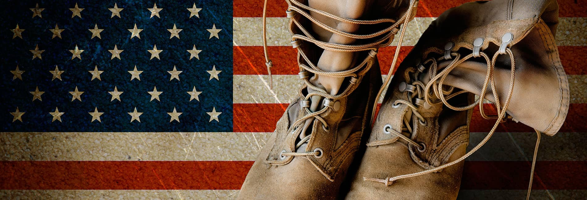Military Boots and an American Flag