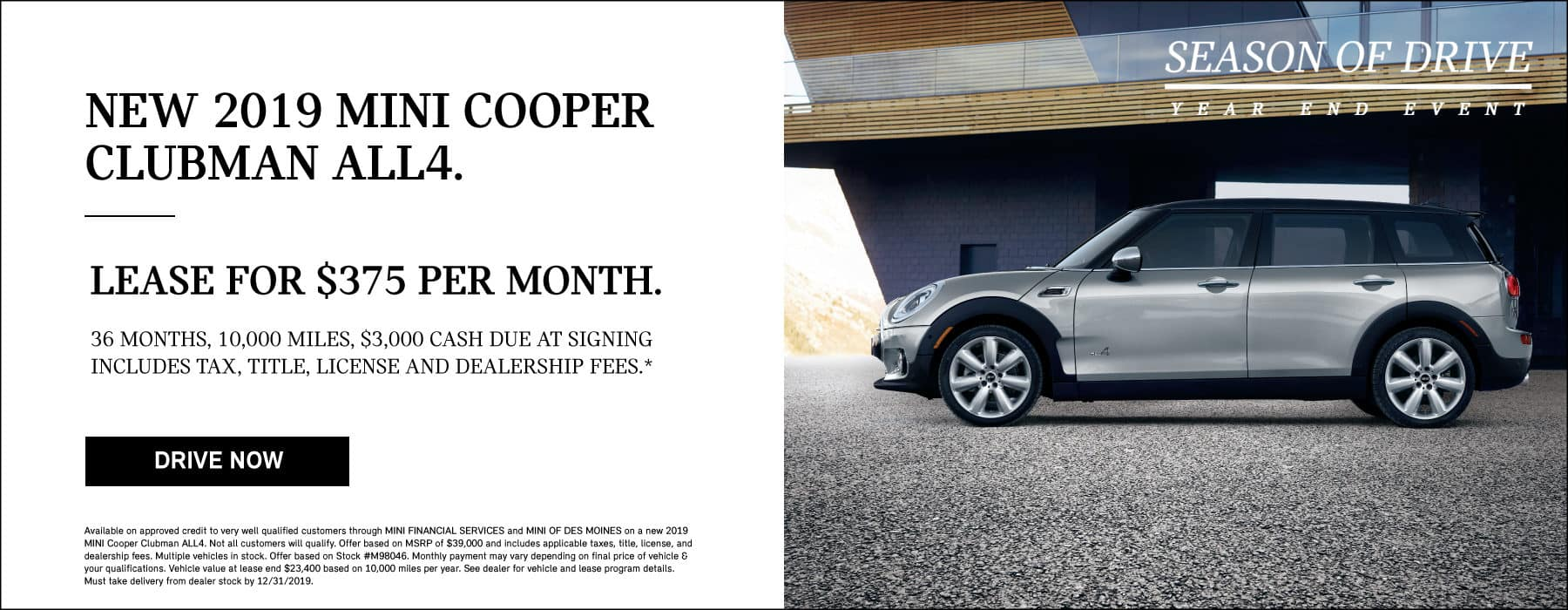 LEASE A NEW 2019 MINI COOPER CLUBMAN ALL4 FOR $375 PER MONTH.