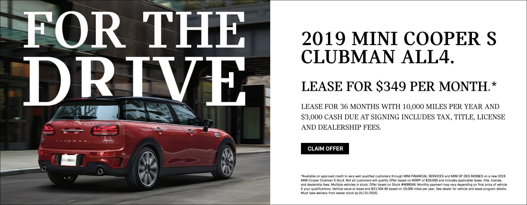 LEASE A 2019 MINI COOPER S CLUBMAN ALL4 FOR $349 PER MONTH.