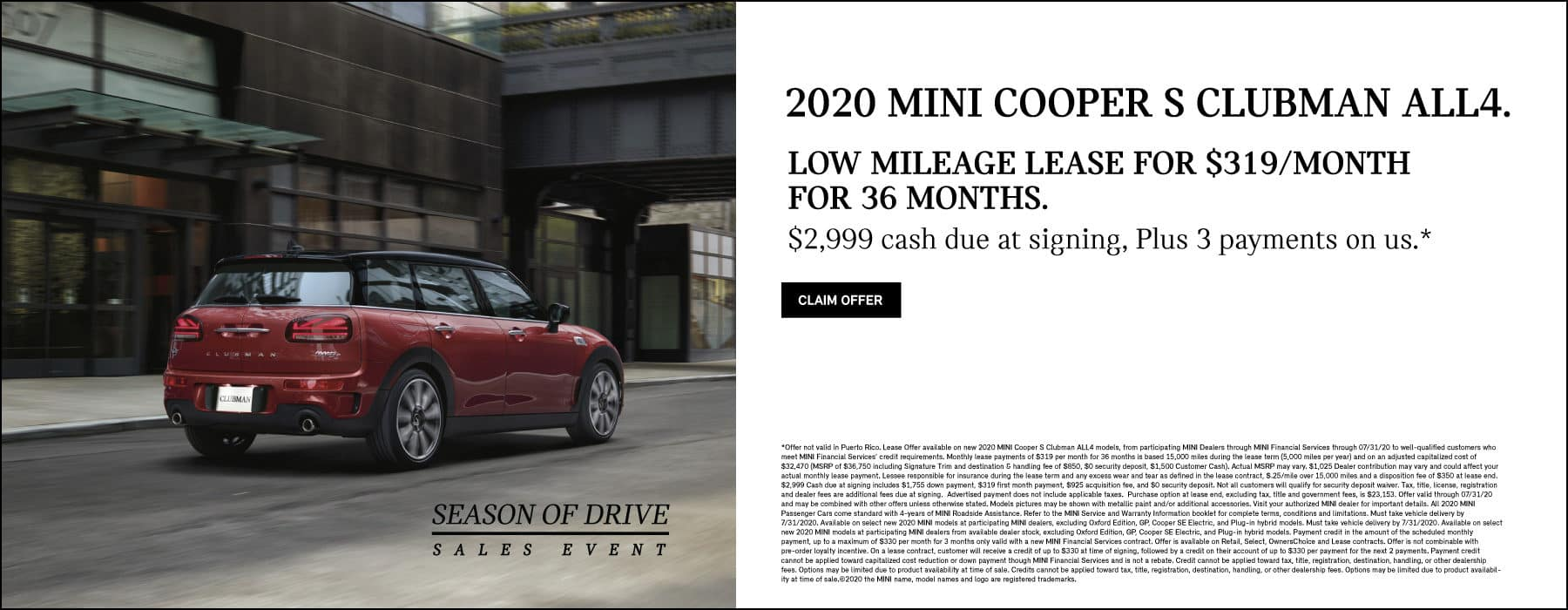 2020 mini cooper s clubman all4 low mileage lease for $319 per month for 36 months with $2999 cash due at signing plus 3 payments on us