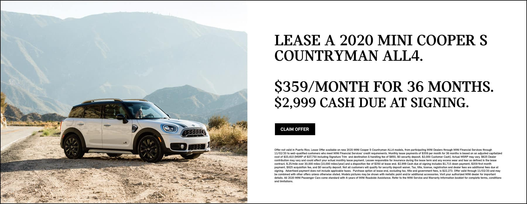 Lease a 2020 MINI Cooper S Countryman ALL4. $359/month for 36 months. $2,999 cash due at signing.