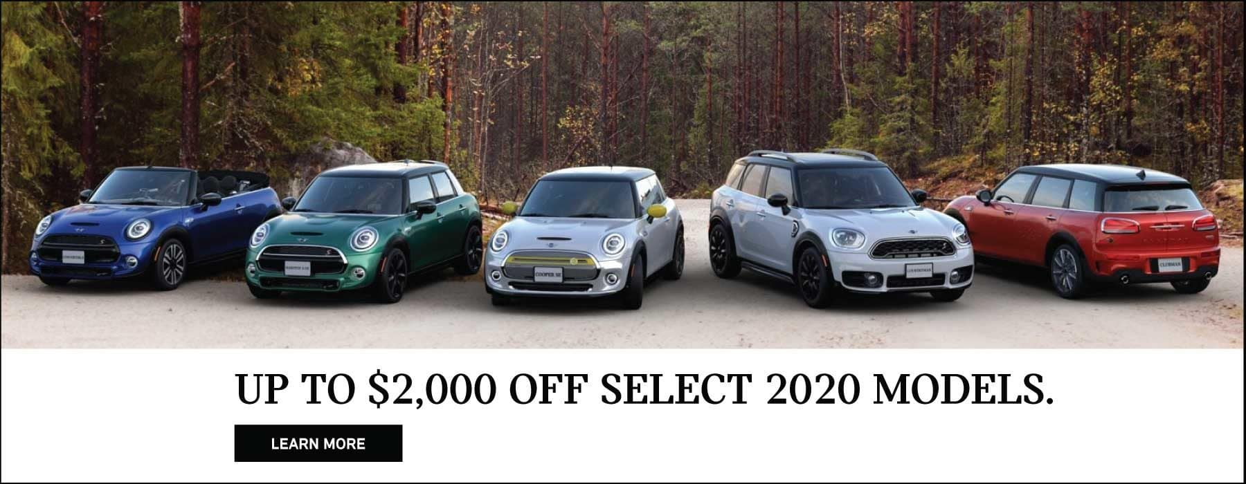 MINI family of vehicles with forest background. Up to $2,000 off select 2020 models.