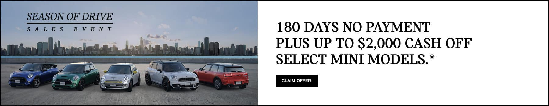 180 days no payment plus up to $2000 off select MINI models