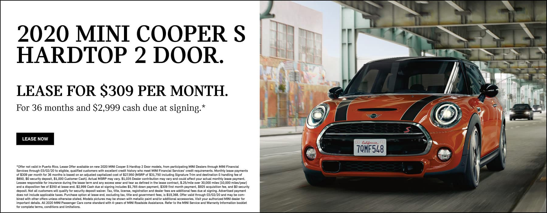Lease a 2020 MINI Cooper S Hardtop 2 Door for $309/mo.