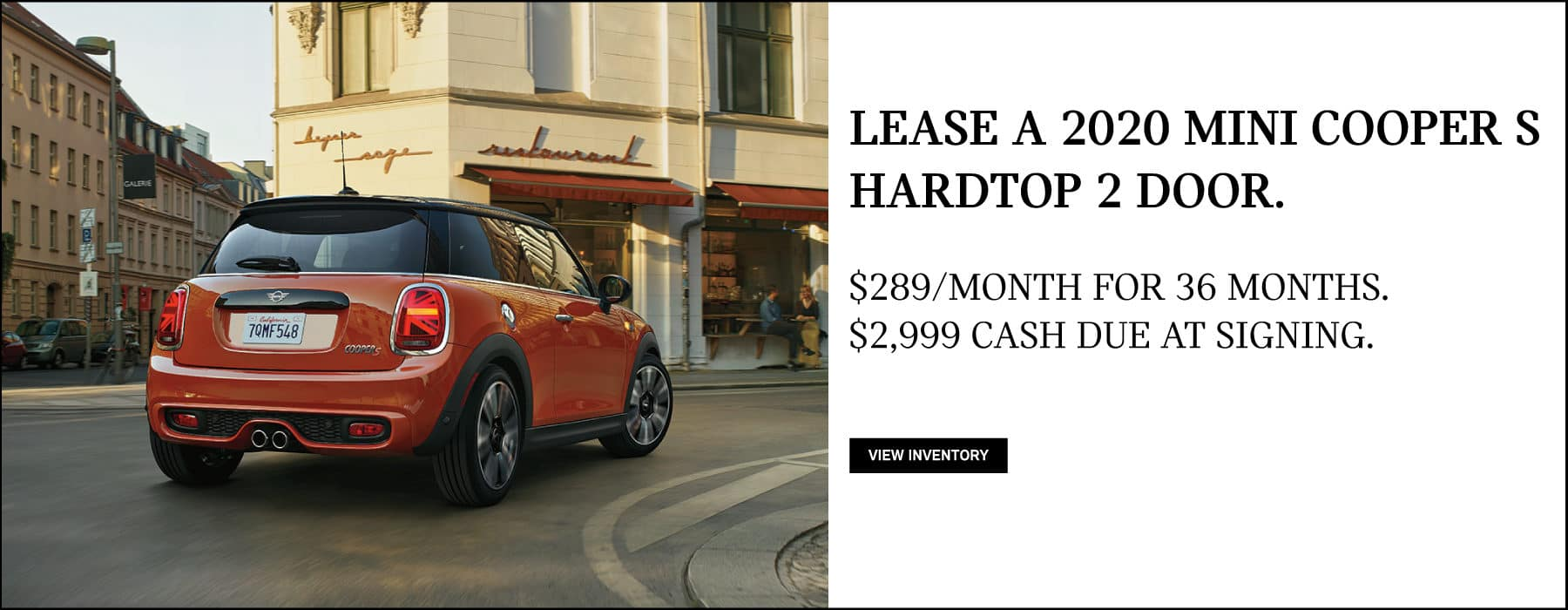 Lease a 2020 MINI Cooper S Hardtop 2 Door for $289/mo. View Inventory