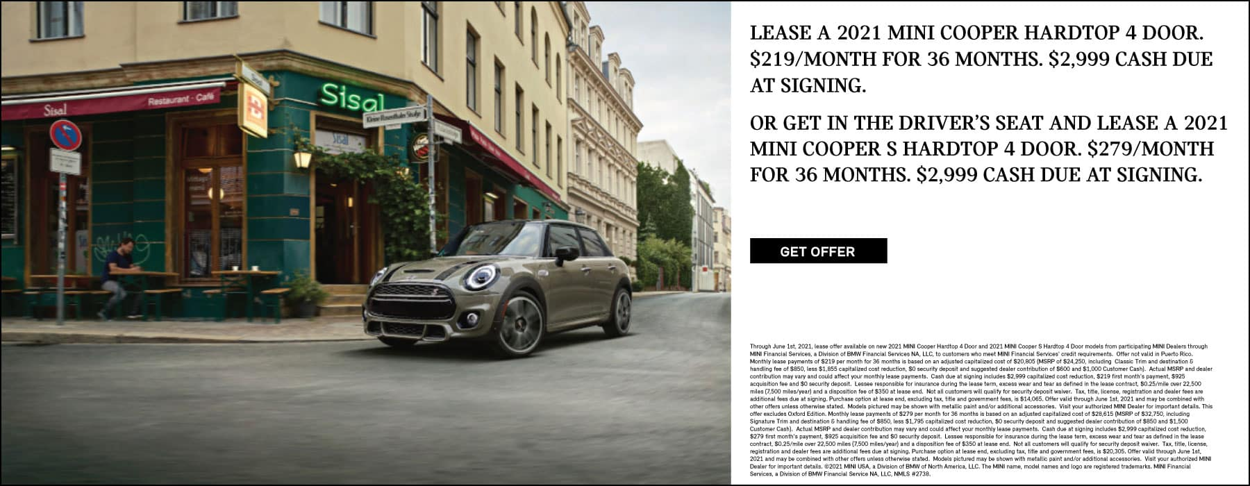 Lease a MINI cooper Hardtop 4 door or Cooper S.