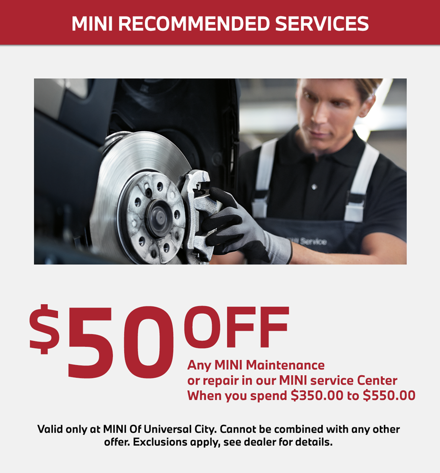 mini cooper recommended service special in los angeles