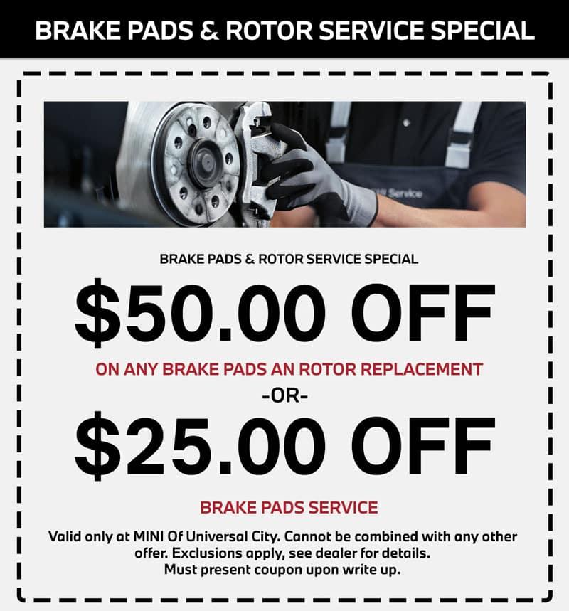 MINI copper brake service special in los angeles