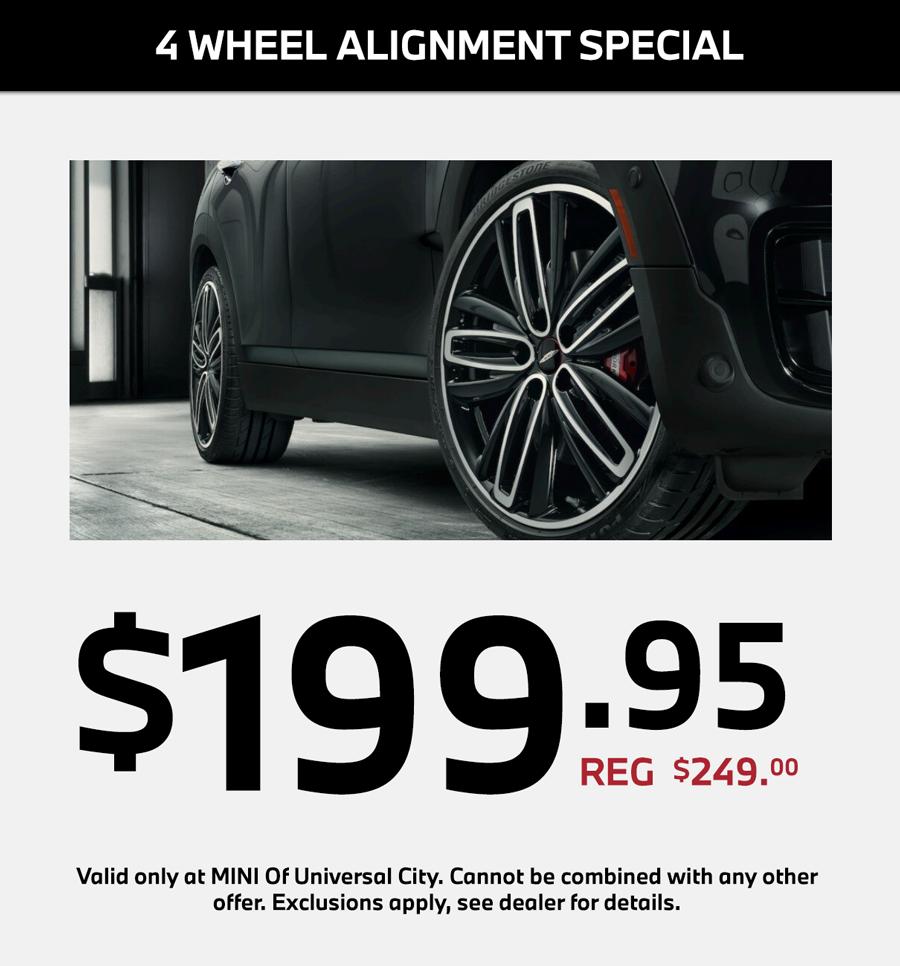4 wheel alignment service special