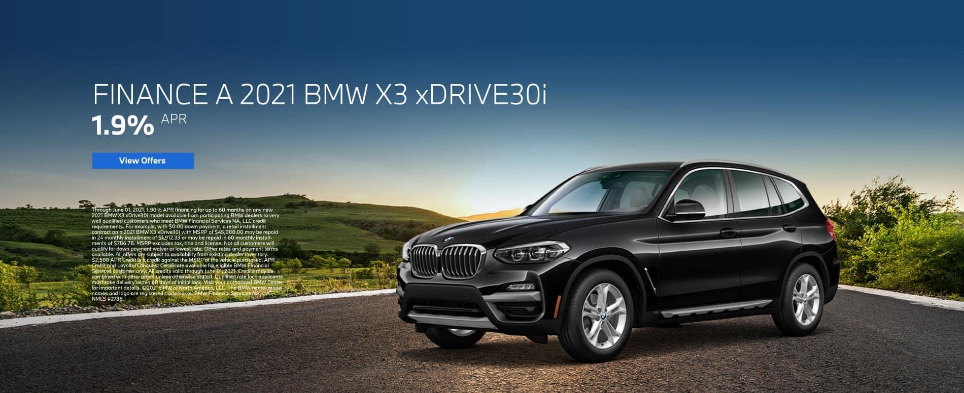 Finance a 2021 BMW X3 xDRIVE30i at 1.9% apr | View Offers