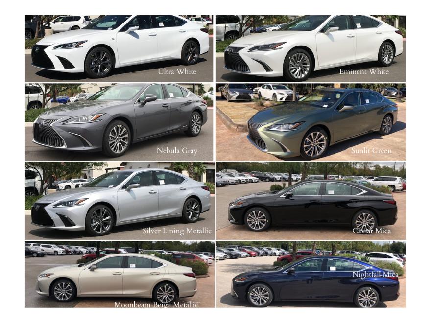 2020 Lexus ES Color Choices