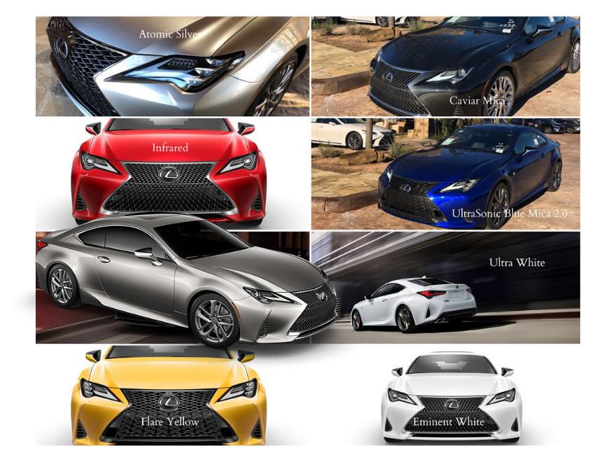 2020 Lexus RC color choices