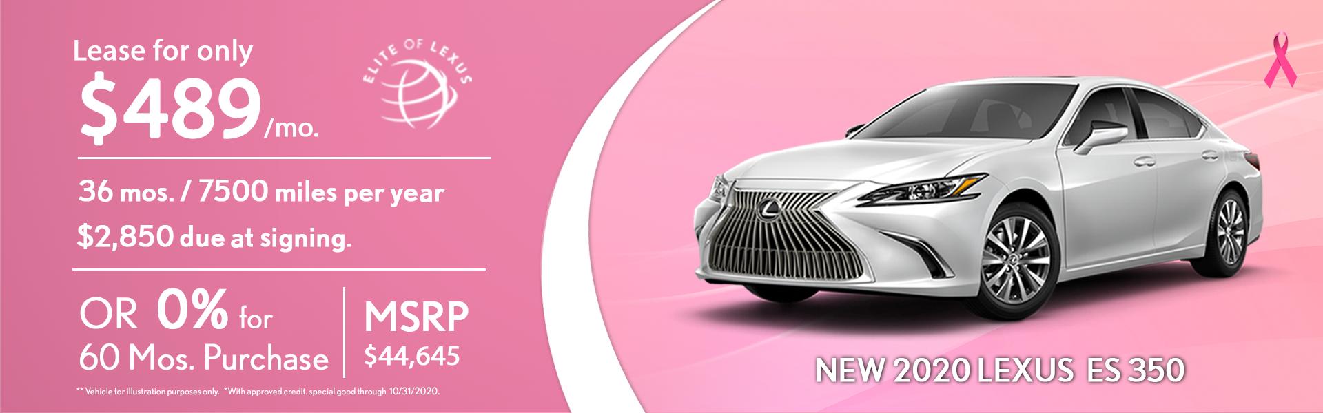 LEXUS 2020 ES 350 Lease Special