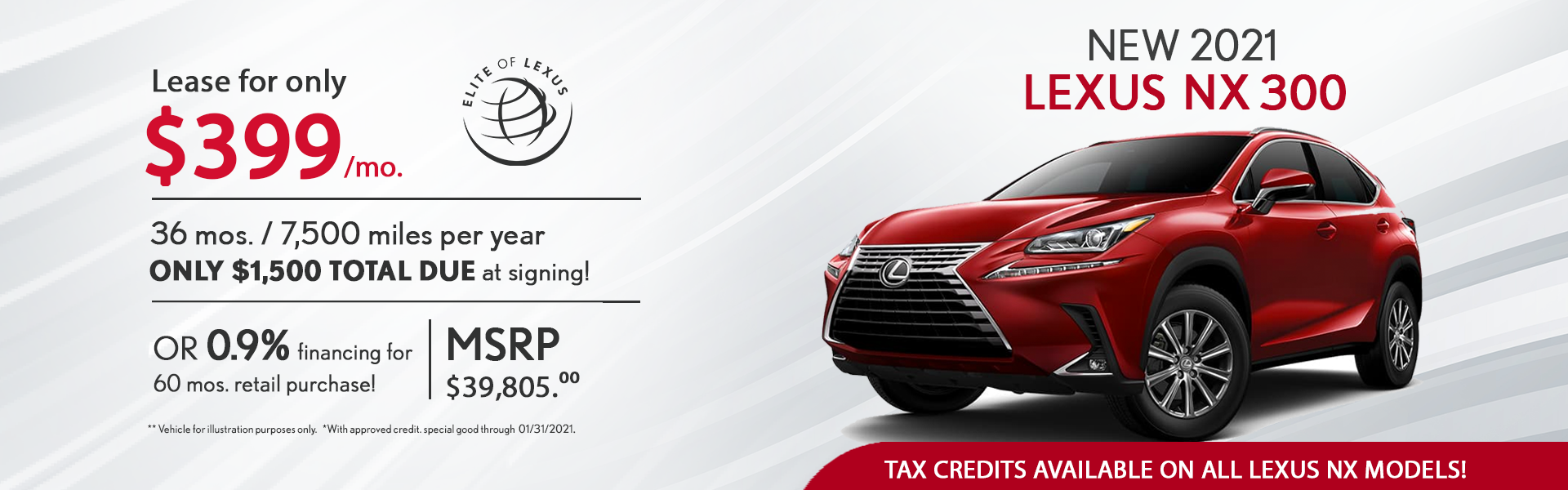 January Lexus Lease Specials NX 300