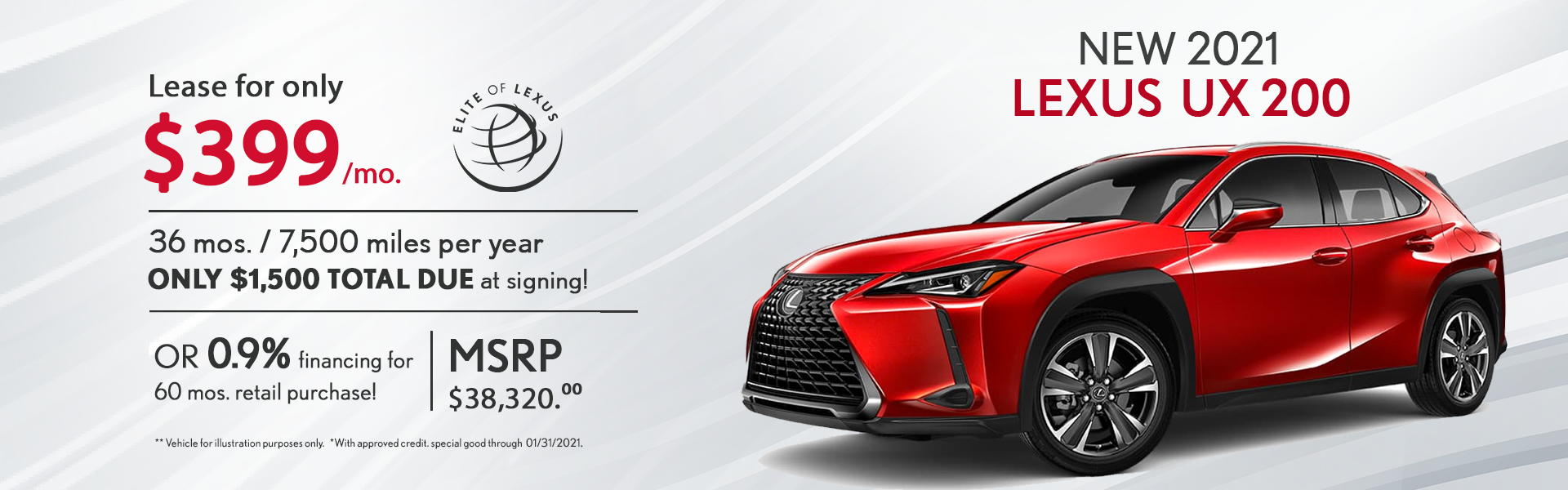 January Lexus Lease Specials UX 200