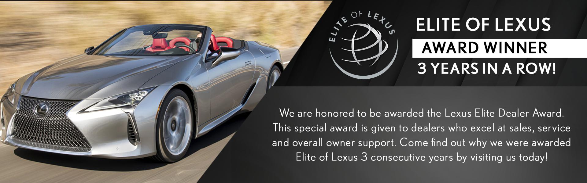 Elite of Lexus award winner