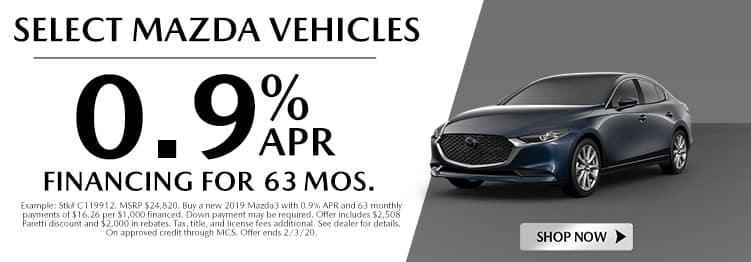 Select Mazda Vehicles