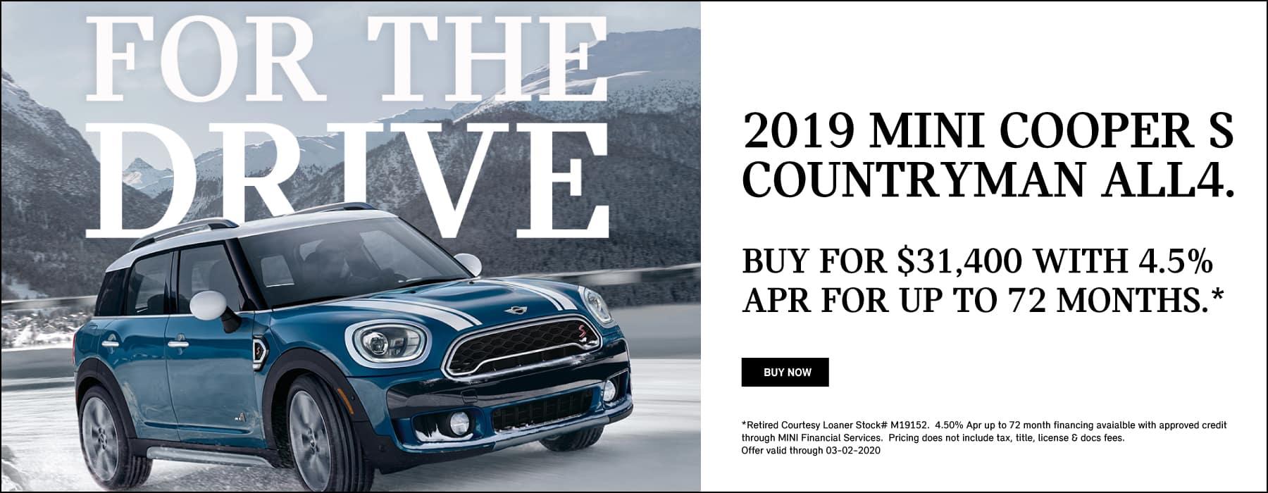 2019 MINI Cooper S Countryman ALL4 Signature Premium Buy for $31,400 savings of $7,215