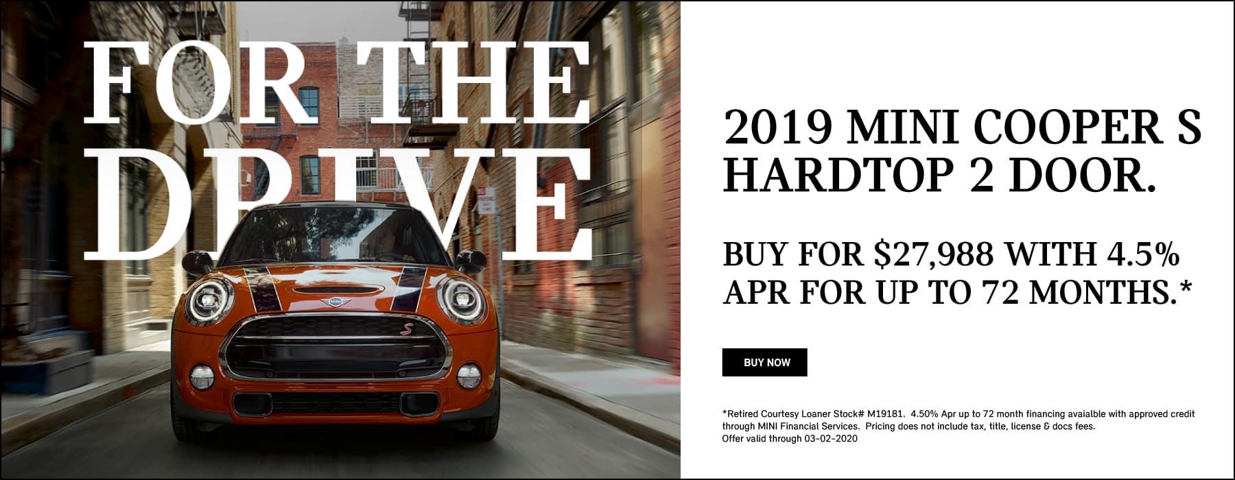 2019 MINI Cooper S Hardtop 2 Door Iconic Buy for $27,988 savings of $6,972
