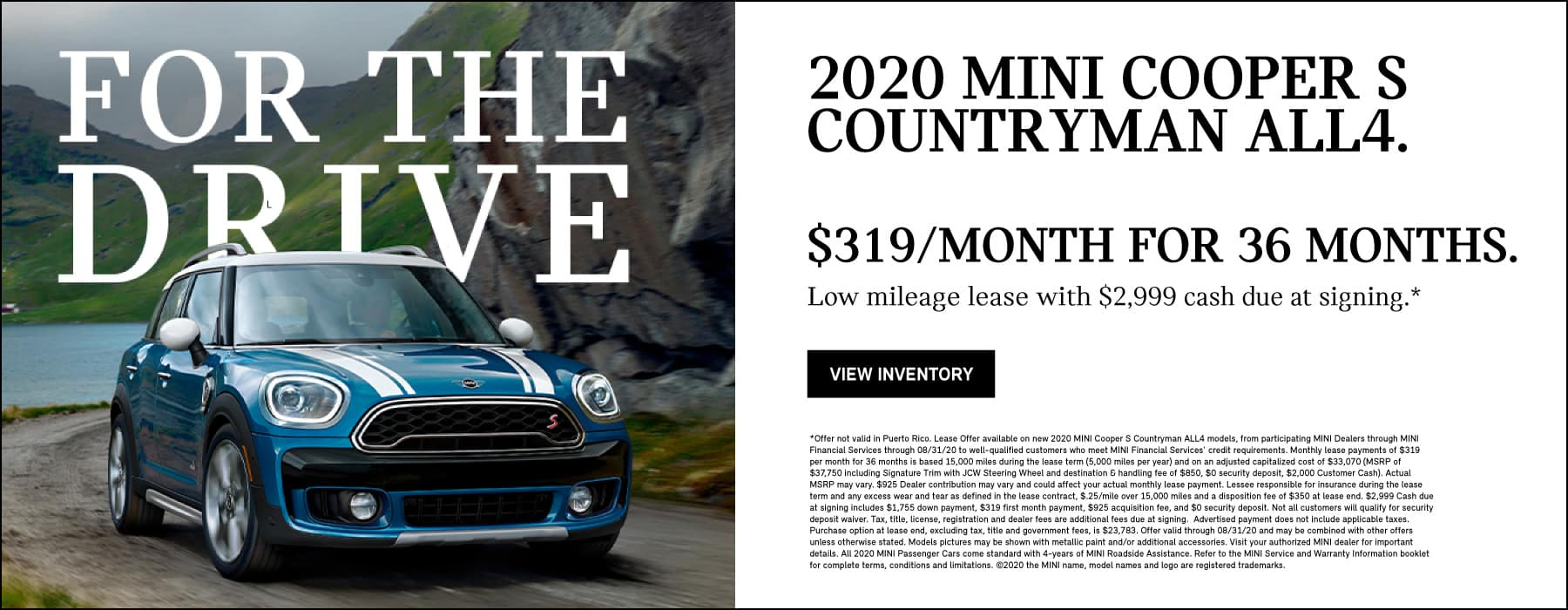 2020 MINI Cooper S Countryman ALL4: $319 low mileage monthly lease for 36 months, $2,999 due at signing.