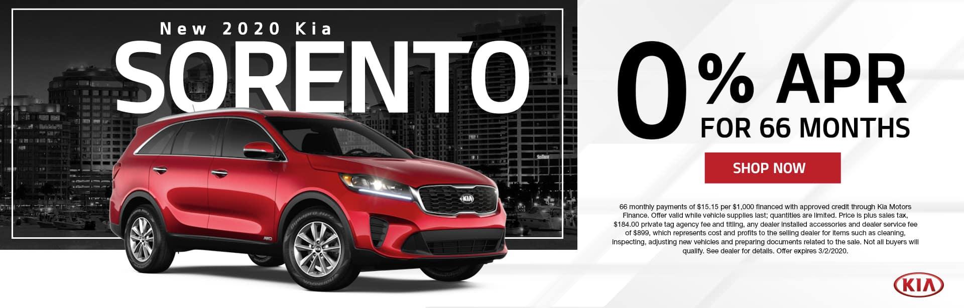 New 2020 Kia Sorento | 0% APR For 66 Months