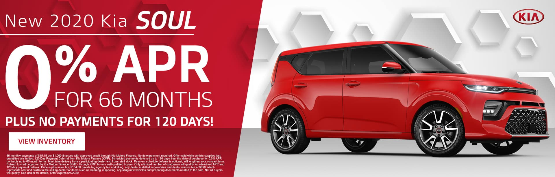 New 2020 Kia Soul | 0% APR For 66 Months Plus No Payments For 120 Days!